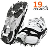 Spikes Crampons Tongshop Snow Ice Cleats Unisex Anti Slip Ice Grips 19 Teeth Stainless Steel Micro Spikes Grips Traction Cleats for Winter Walking Climbing Hiking on Snow Ice, Come with a Carry Bag
