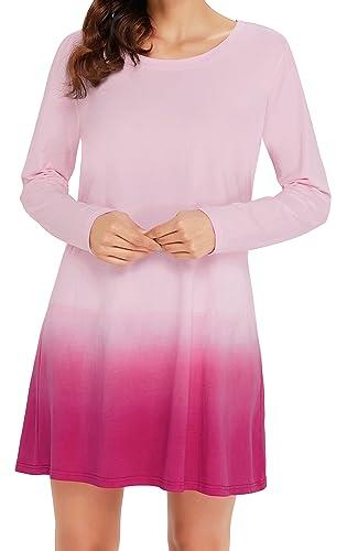 Angerella Donne Collo Rotondo Manica Lunga A-line Lace Stitching Trim Casual Vestito