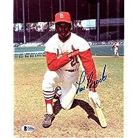 $89 » Lou Brock Signed Autographed St. Louis Cardinals 8x10 Photo + Beckett BAS COA
