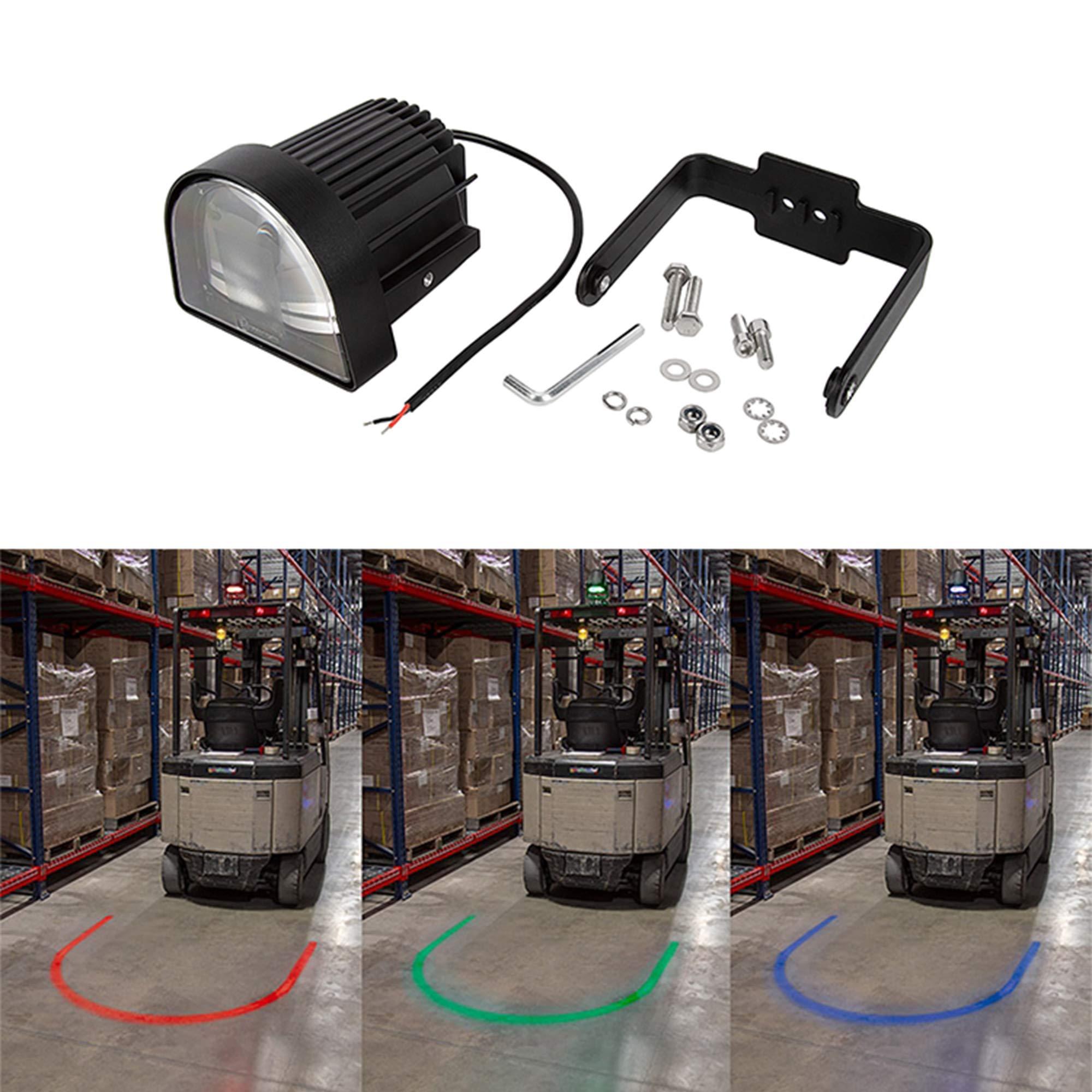 XRLL LED Forklift Safety Warning Light Arc Beam Pattern,Warehouse Reversing Blue Spot Warning Light,U Beam Forklift Red Zone Danger Area Lights 10-80V (Red) by XRLL