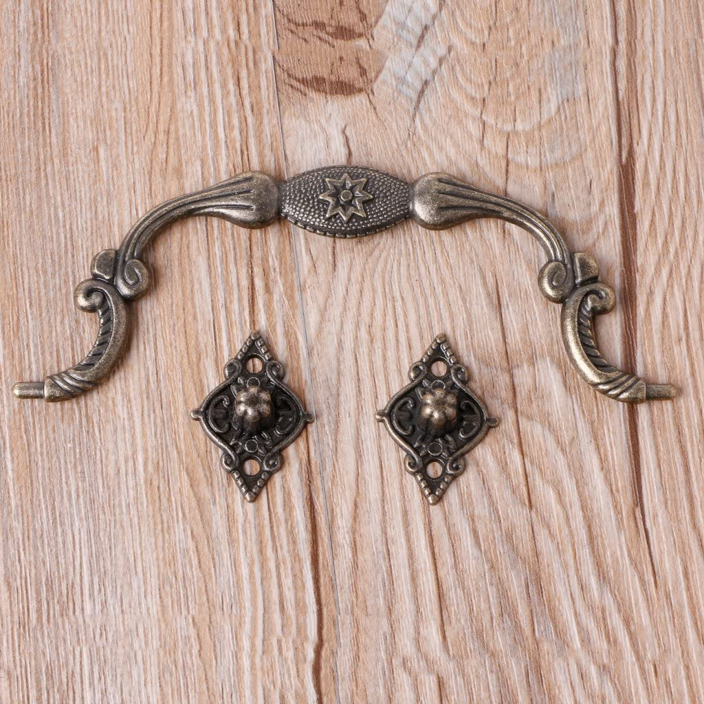 VIccoo Bo/îte Porte-Valise Arch Arch Tracery Ton Bronze Tiroir Bijoux en Bois Poign/ée De Bo/îte 2#