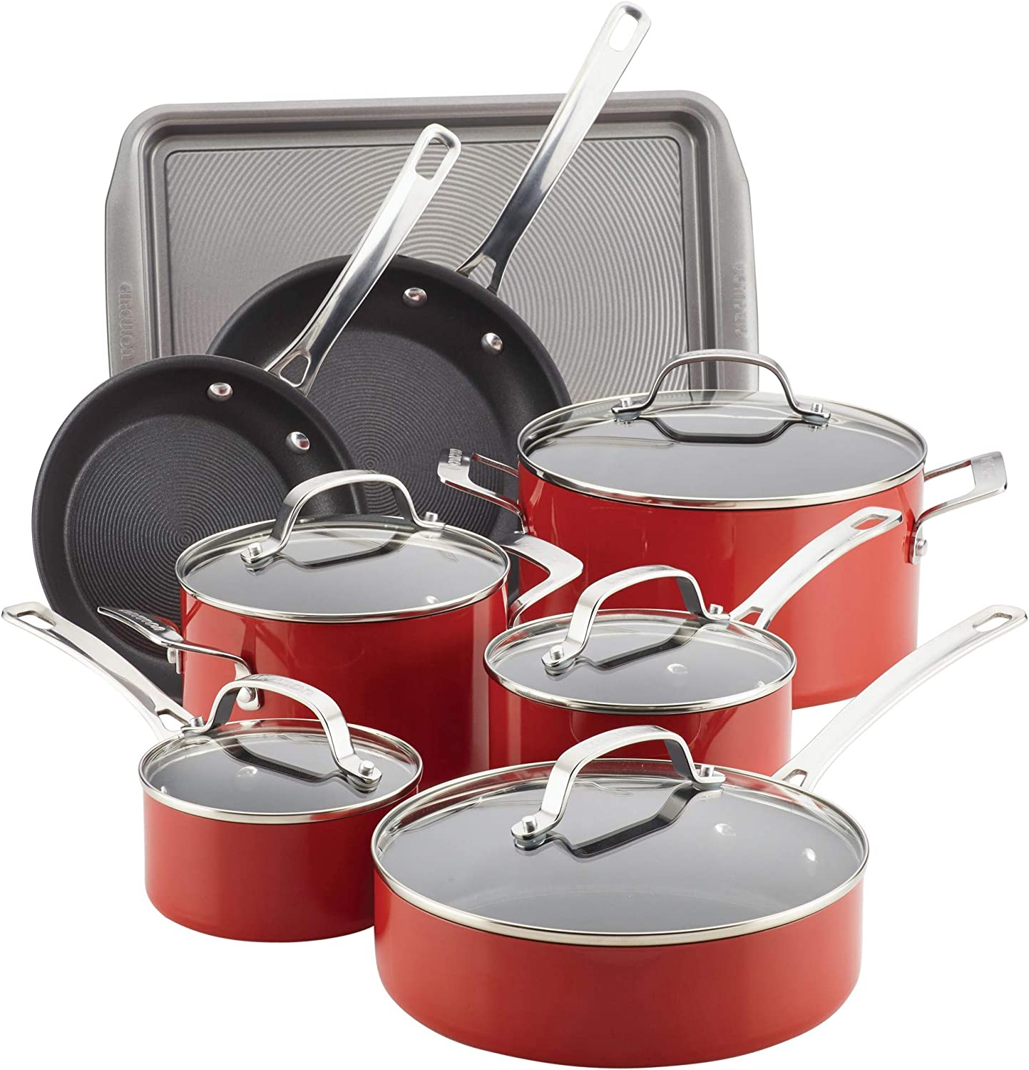 Circulon 14570 Genesis Nonstick Cookware Pots and Pans Set, 13 Piece, Red