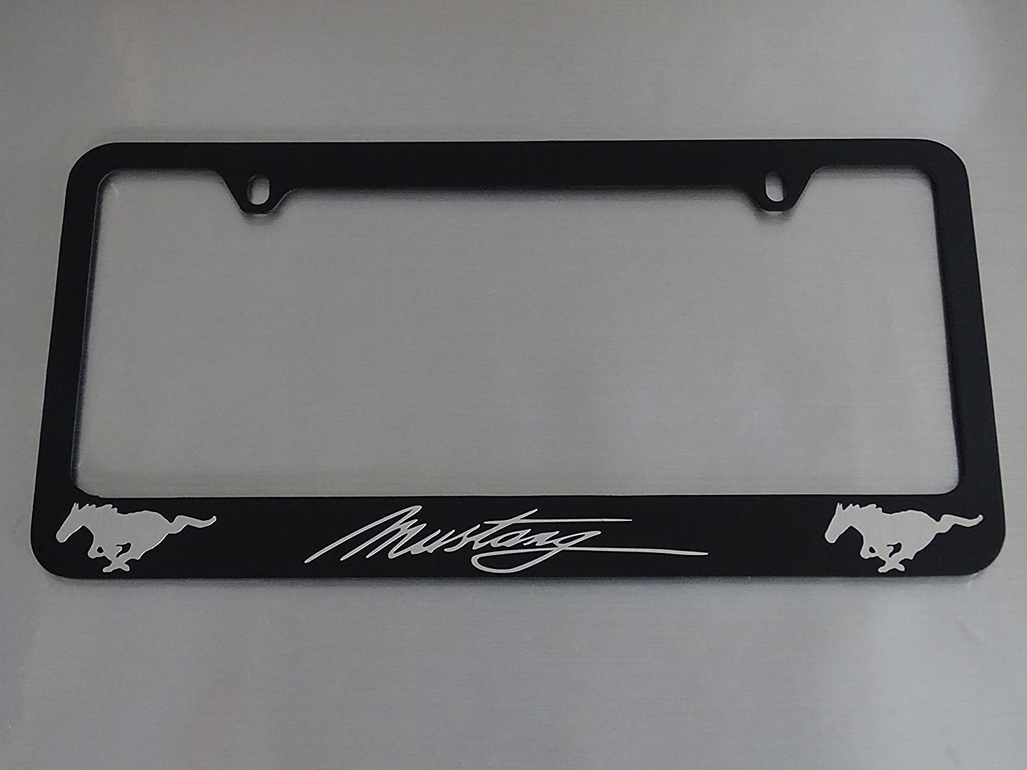 Ford Mustang license plate frame Brushed aluminum text glossy black metal