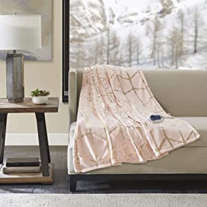 "True North by Sleep Philosophy Raina Electric Blanket Plush Throws-Low EMF-Oversized 60"" x 70""-Metallic Geometric Print Cozy Soft-3-Setting Heat Controller, 50X60 Inches, Blush"
