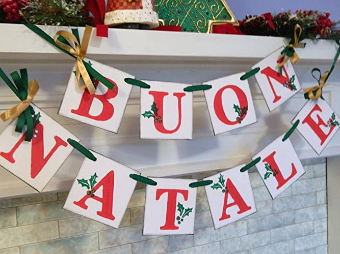 Buon Natale 4x4.Buon Natale Banner Red Green Gold Italian Christmas Garland Vintage Inspired Italian Christmas Decorations Christmas Banners