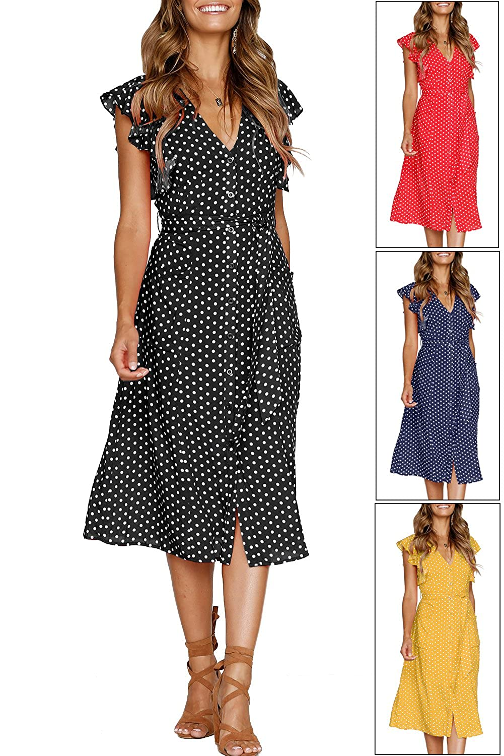 a93f871fa2d02 MITILLY Women's Summer Boho Polka Dot Sleeveless V Neck Swing Midi Dress  with Pockets at Amazon Women's Clothing store: