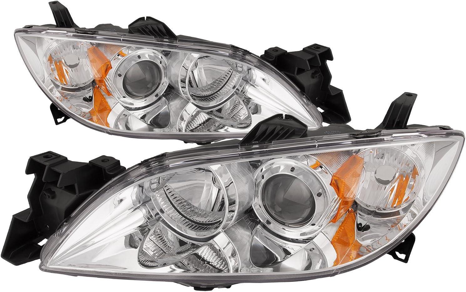 PERDE Chrome Headlights Set Compatible with Mazda 3 Sedan New Halogen Projector Pair