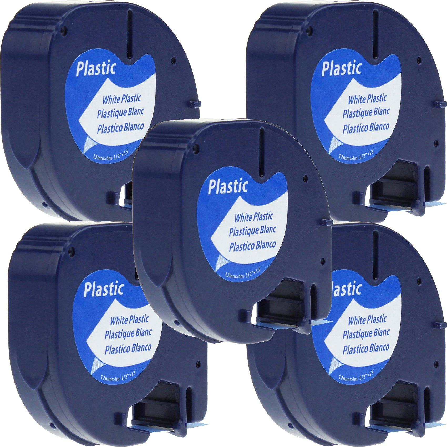 5 x Cintas Cassette Cintas de Etiquetas Compatibles con Dymo LetraTag 91201 S0721610 Plastico Negro sobre
