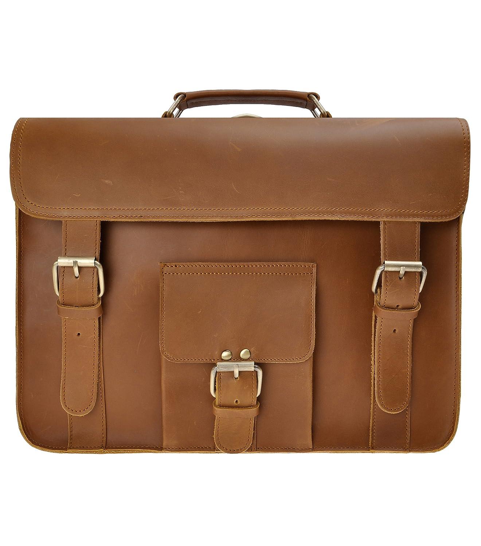 ZLYC Men 15.6 Inch Leather Laptop Messenger Bag Vintage Briefecase Backpack Business Handbag Shoulder Bag, Brown QY-SH1502-SC01-BR