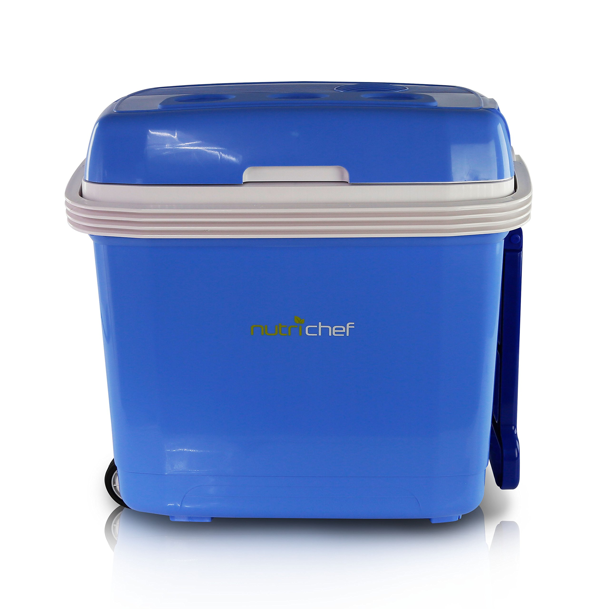 NutriChef Portable Electric Cooler Fridge/Food Warmer, 35 Can - 32L Capacity | Personal Thermoelectric Dual Cooling Warming Digital Plug In Refrigerator for Car, Travel, Beach, Office