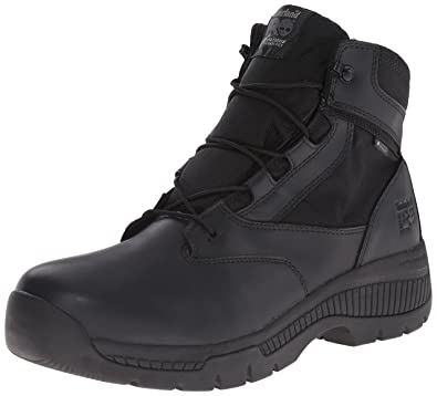 Timberland PRO Men's 6 Inch Valor Soft Toe Waterproof Side Zip Work Boot,  Black Smooth