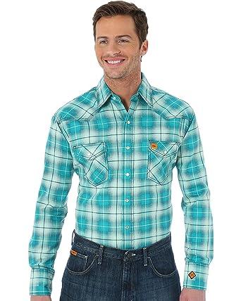 47e229a469d2 Amazon.com  Wrangler Men s Green Flame Resistant Fashion Plaid Shirt ...
