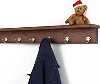 """product image for PegandRail Solid Cherry Shelf Coat Rack with Satin Nickel Single Style Hooks (Mahogany, 31"""" with 6 Hooks)"""