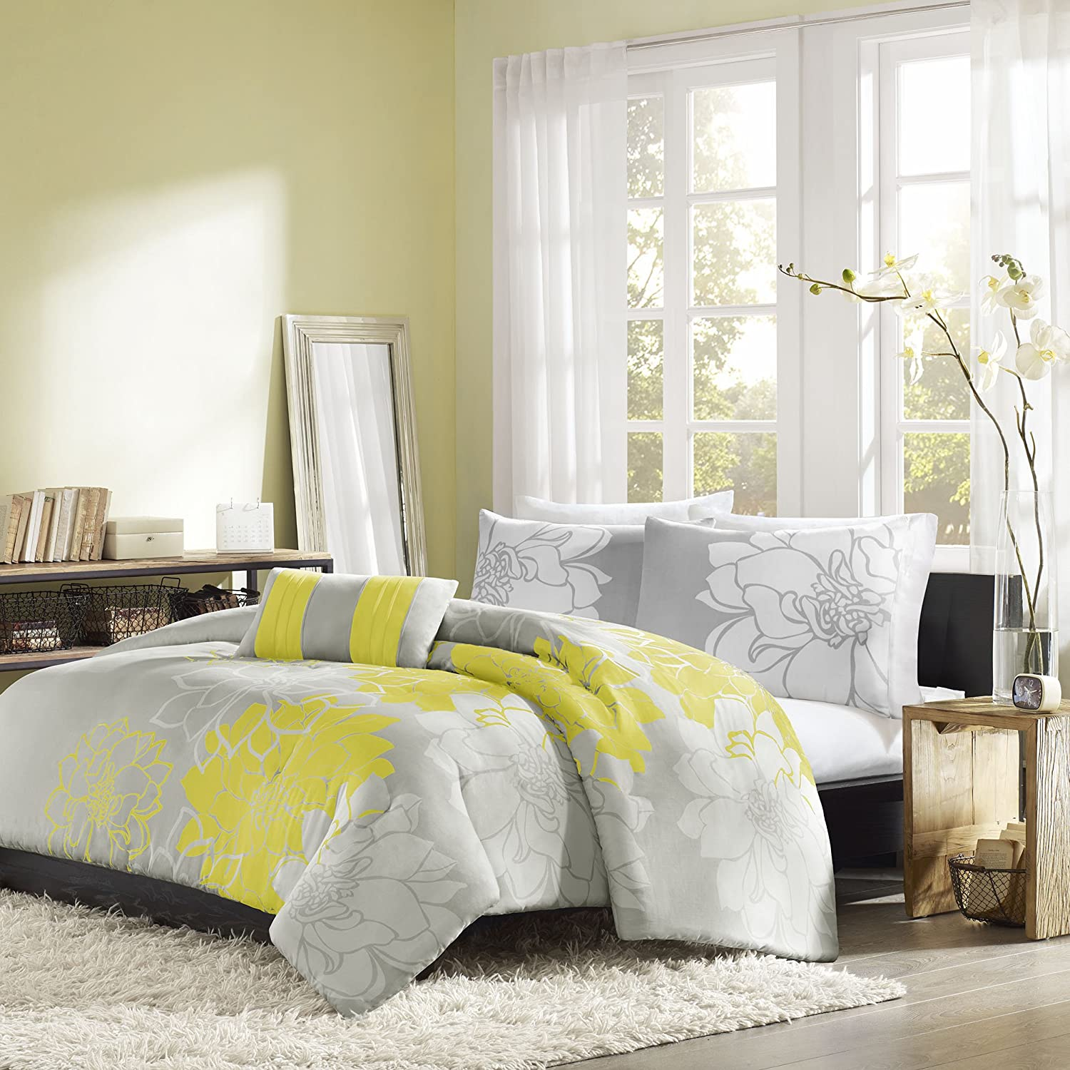 Home Essence Chloe 4-Piece Bedding Set, Queen, Yellow