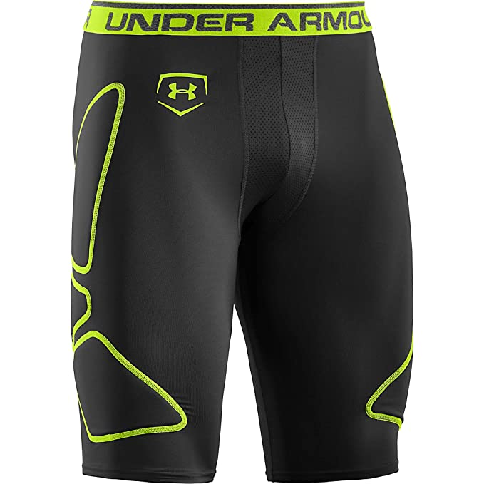 553fa66abcb5c Under Armour Mens Break Through Baseball Slider Compression Short  Black/Hyper Green/Hyper Green
