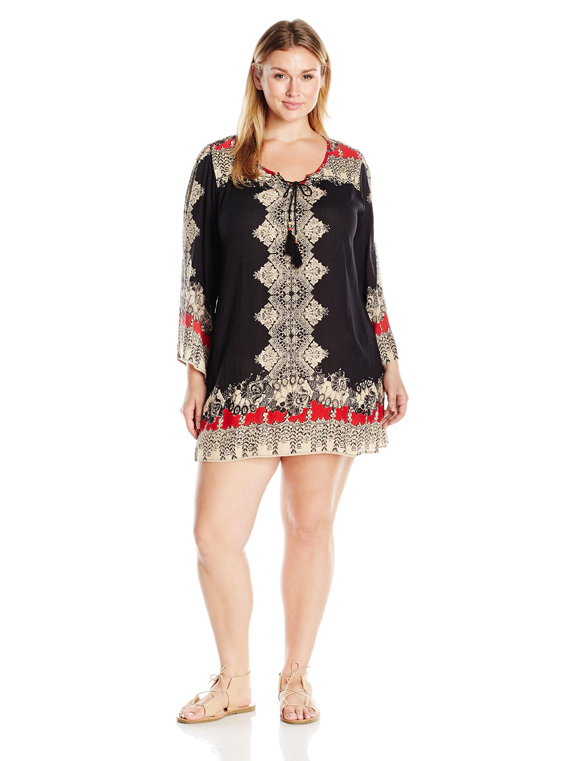 Angie Women's Plus Size Black Printed Bell Sleeve Dress, Black/Sand, 1X