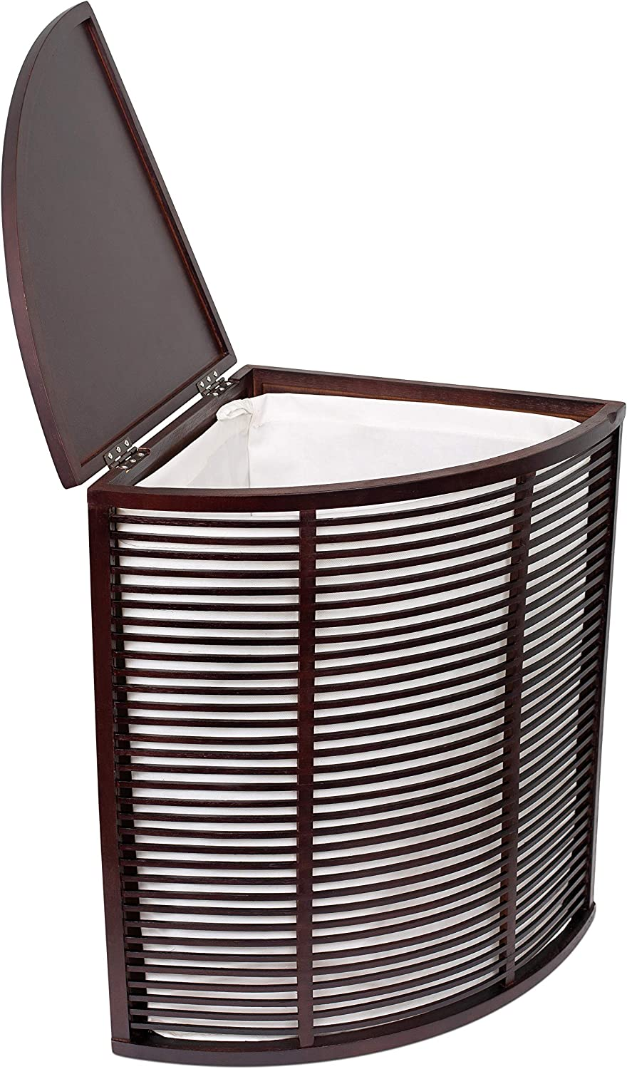 BIRDROCK HOME Compact Corner Laundry Hamper with Lid and Removable Liner - Brown Bamboo - Easily Transport Laundry - Baby Dirty Clothes Bin Sorter Basket - Cut Out Handles