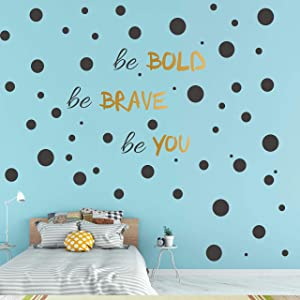 193 PCS Black Dot Wall Decal, Inspirational Quote, Easy to Peel Easy to Stick Removable Vinyl Polka Dot Decor, Living Room Wallpaper, Boy Nursery Wall Decals, Girls Room Decor