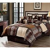 7 Piece Cal King Leopard Patchwork Faux Fur Microfiber Comforter Set