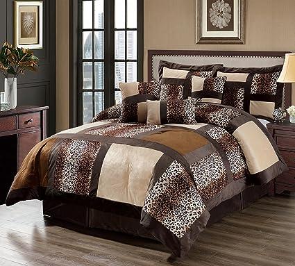 Amazon.com: 7 Piece Queen Leopard Patchwork Faux Fur Microfiber ...