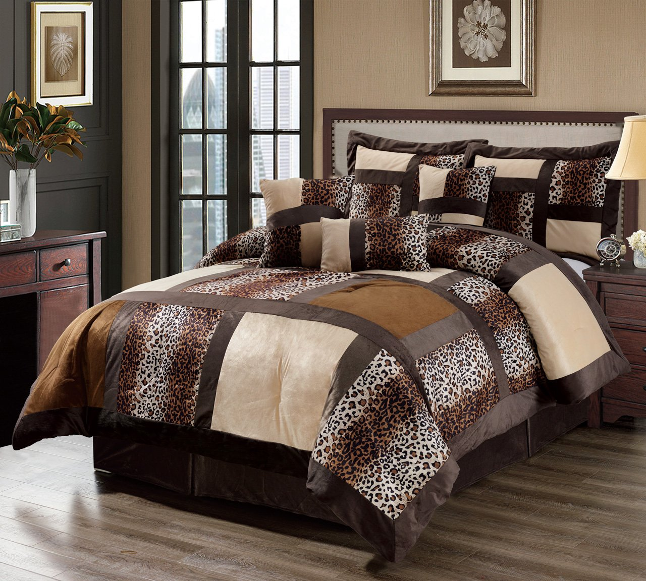 KingLinen 7 Piece Queen Leopard Patchwork Faux Fur Microfiber Comforter Set