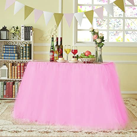 MACTING Handmade Tutu Tulle Table Skirt Cover Improved For Girl Princess Birthday Party Baby Showers Weddings