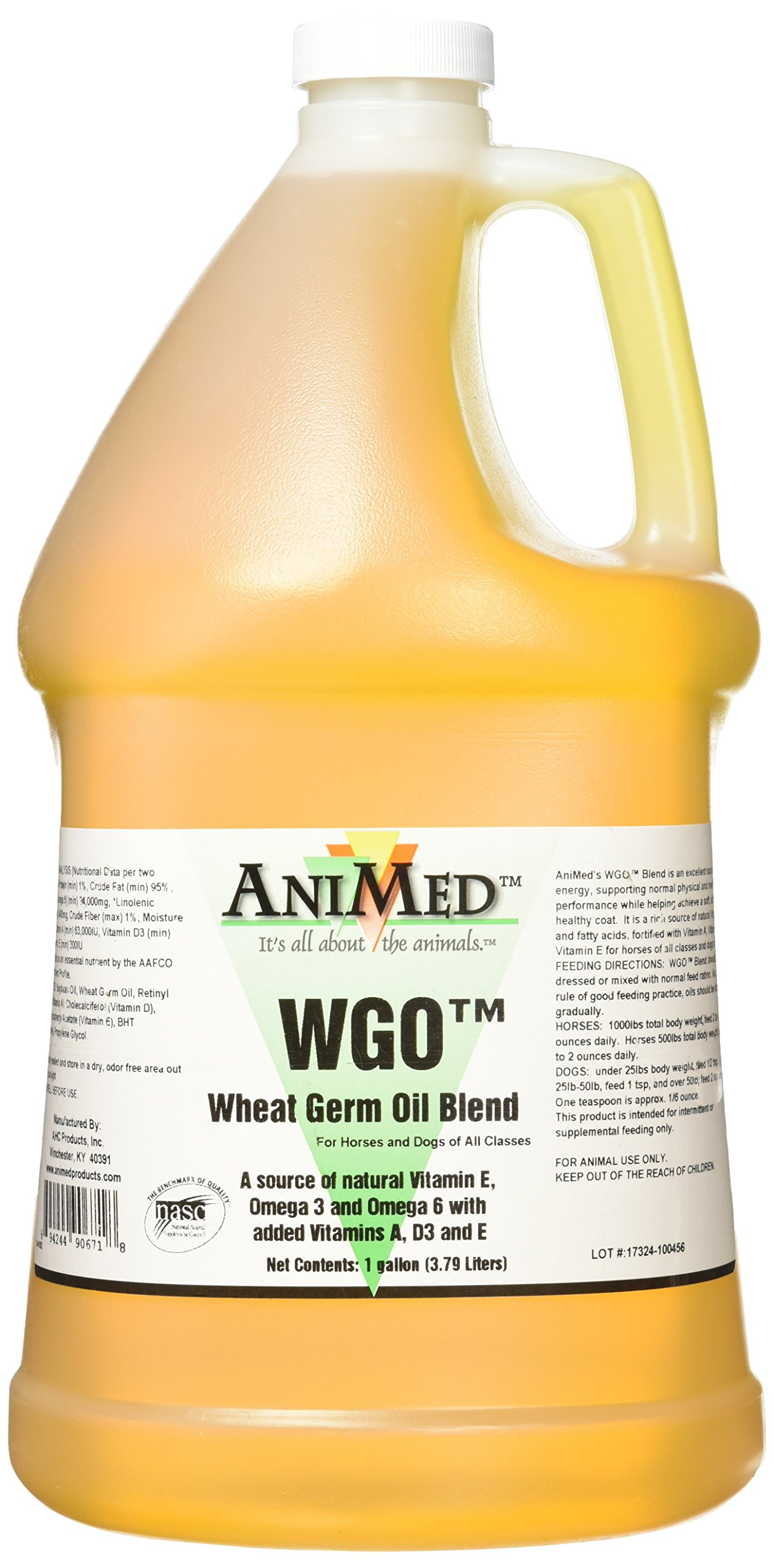 AniMed WGO Wheat Germ Oil Blend For Horses and Dogs (1 Gallon Bottle)