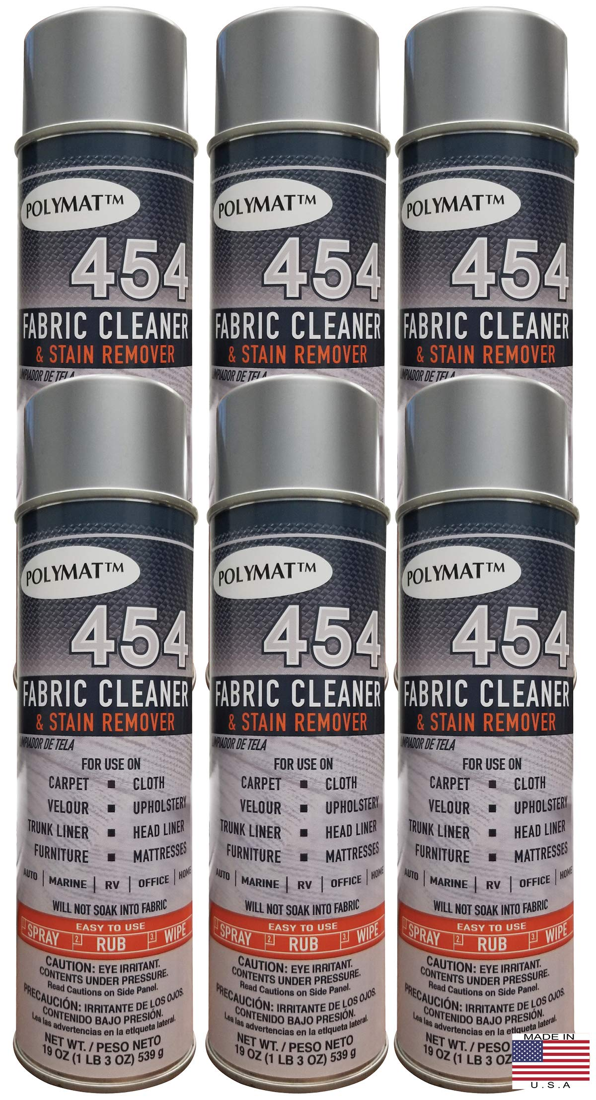 Polymat QTY6 454 Fabric Foam Cleaner & Stain Remover CAR Truck Detailing