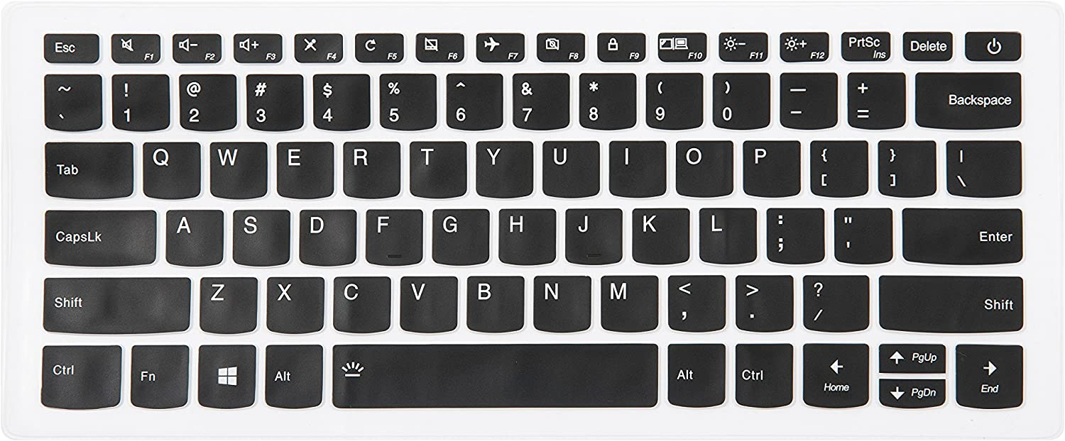 "Leze - Ultra Thin Silicone Laptop Keyboard Cover Skin Protector for Lenovo Yoga 720 15'', Flex 5 14'', Flex 5 15'' Flex 6 14"" ideapad 320/320s-14 Laptop US Layout - Black"