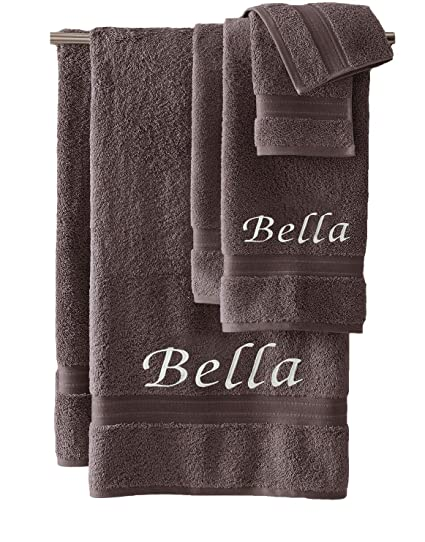 Liberty21 Monogrammed Personalized Bath Hand Towel Set Custom Embroidered Towels Set Of 2 Grey