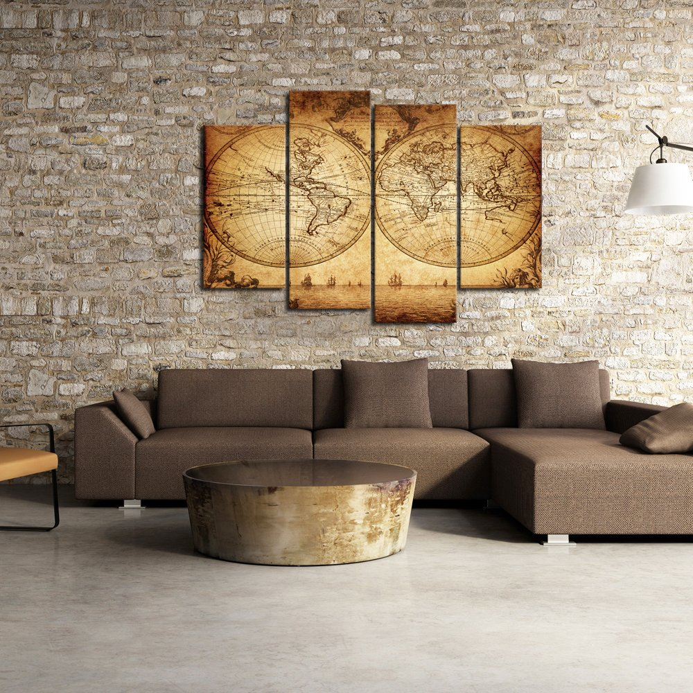 Sea Charm - Canvas Wall Art Panels Vintage World Map Painting Framed - 4 Pieces Canvas Art Retro Antiquated Map of the World Painting Abstract Picture Artwork for Home Office Decor by Sea Charm (Image #2)