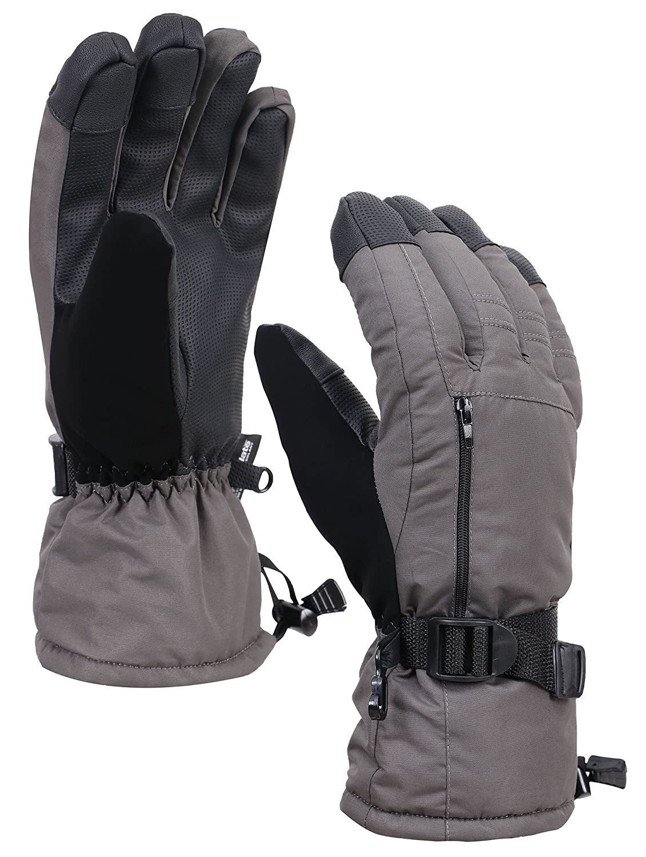 メンズ 3M シンサレート 全天候型 タッチスクリーン 雪 スノー スキー グローブ ファスナーポケット付き B0778GCFMB XL|Grey27 Grey27 XL