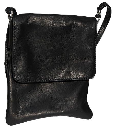 1861380370209 Italian Soft Leather Hand Made Smaller Version Black Messenger Cross Body  or Shoulder Bag Handbag.