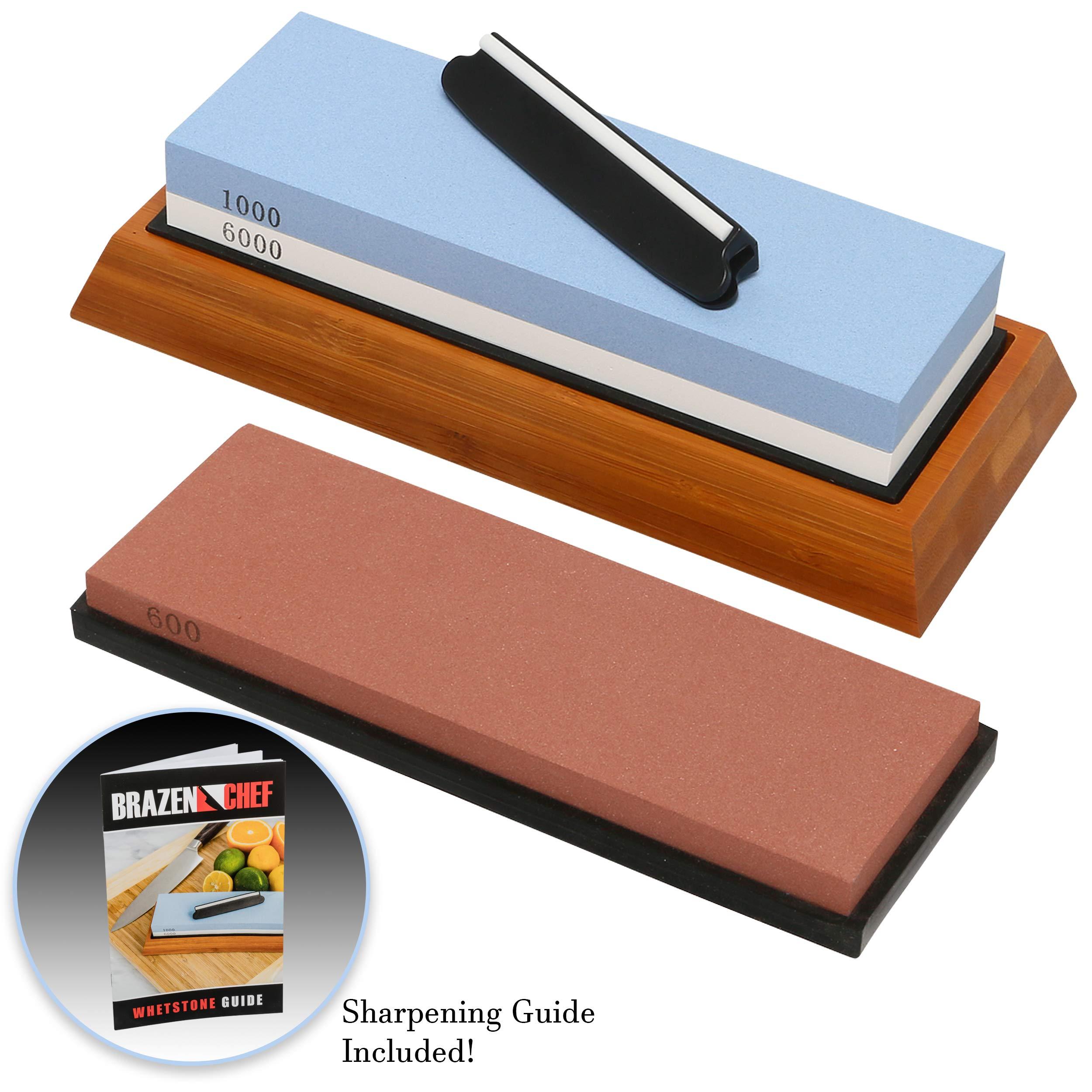 Whetstone Knife Sharpening Stone – NEW Upgraded 3 Grit Whetstone Knife Sharpening Kit