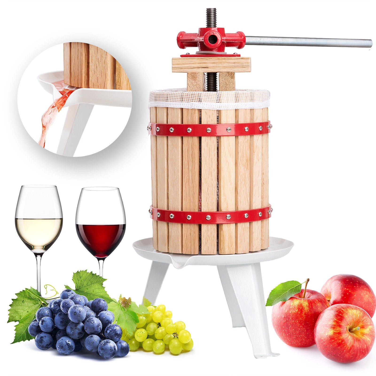 FISTERS 18L Wood Fruit Wine Press Cider Apple Grape Crusher Juice Maker Tool by FISTERS (Image #1)