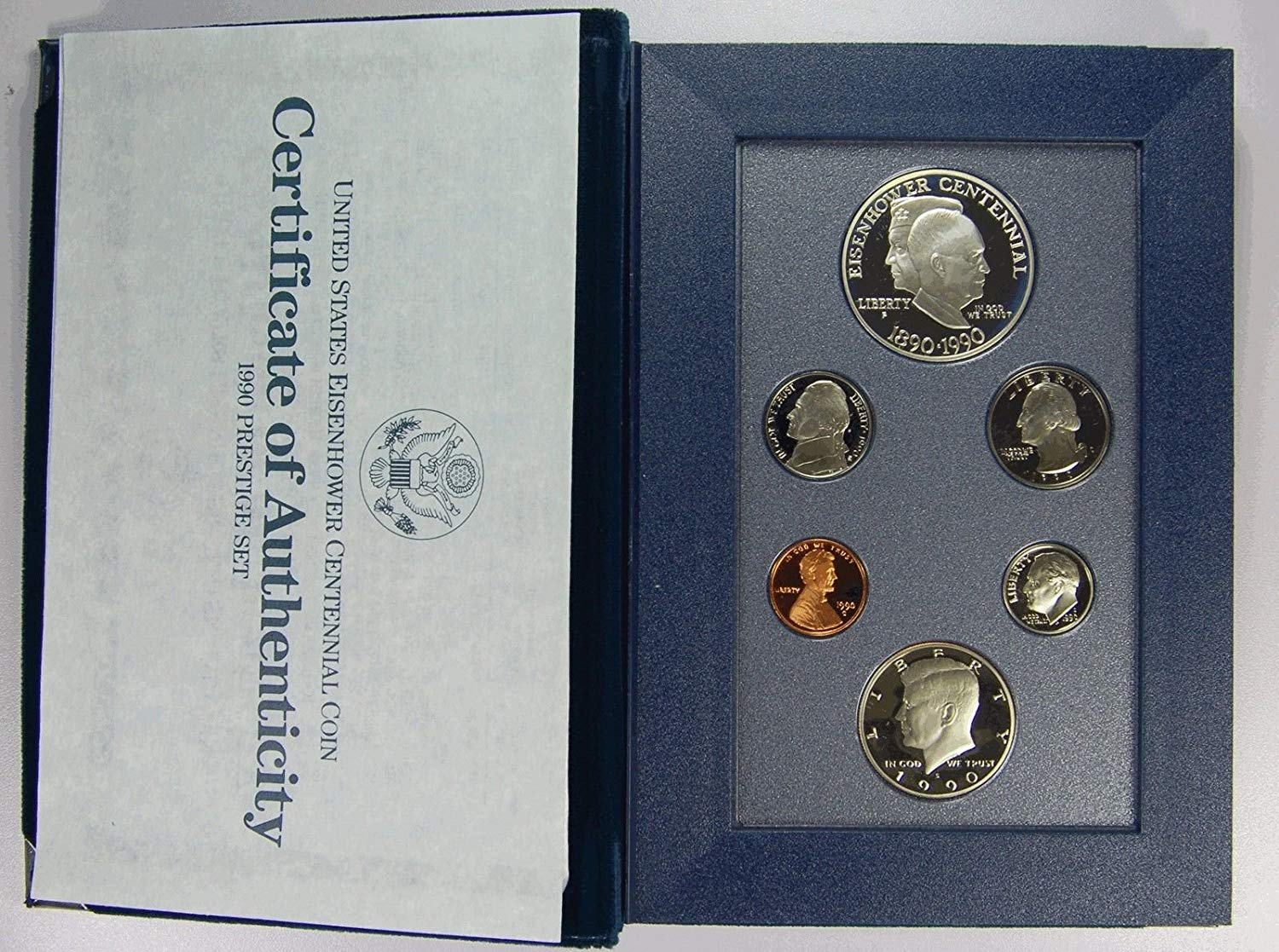 United States Mint 1990-S Proof Set 5 Coins in Original Government Packaging