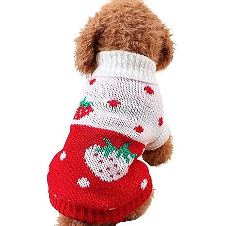 INTERNET Ropa para Perros, Suéter Suave para Mascotas para Perros Pequeños (S, Rosa