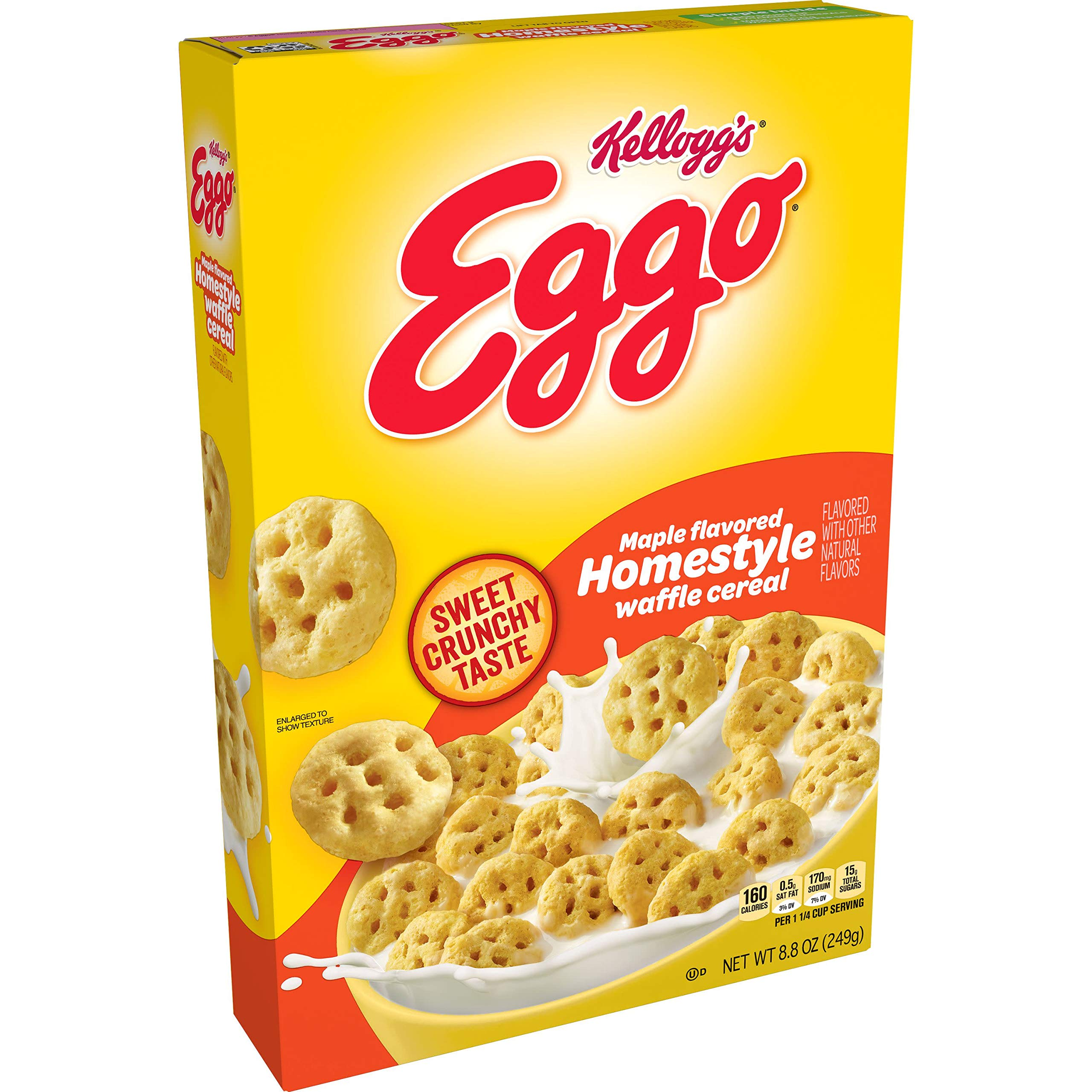 Eggo, Breakfast Cereal, Maple Flavored Homestyle Waffle, Good Source of 8 Vitamins and Minerals, 8.8oz Box