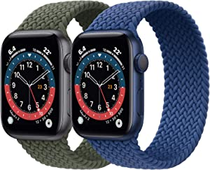 2 Pack Braided Solo Loop Sport Bands Compatible for Apple Watch Band 38mm 40mm 42mm 44mm Soft Stretchy Wristband Women Men Elastic Strap Compatible for iWatch Series 6/SE/5/4/3/2/1, 38mm/40mm Medium