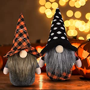 2 Pieces Halloween Gnome Ornament Christmas Santa Handmade Elf Tomte Faceless Plush Doll Swedish Dwarf Hat Figurine for Party Tree Home Decor (Classic Style)