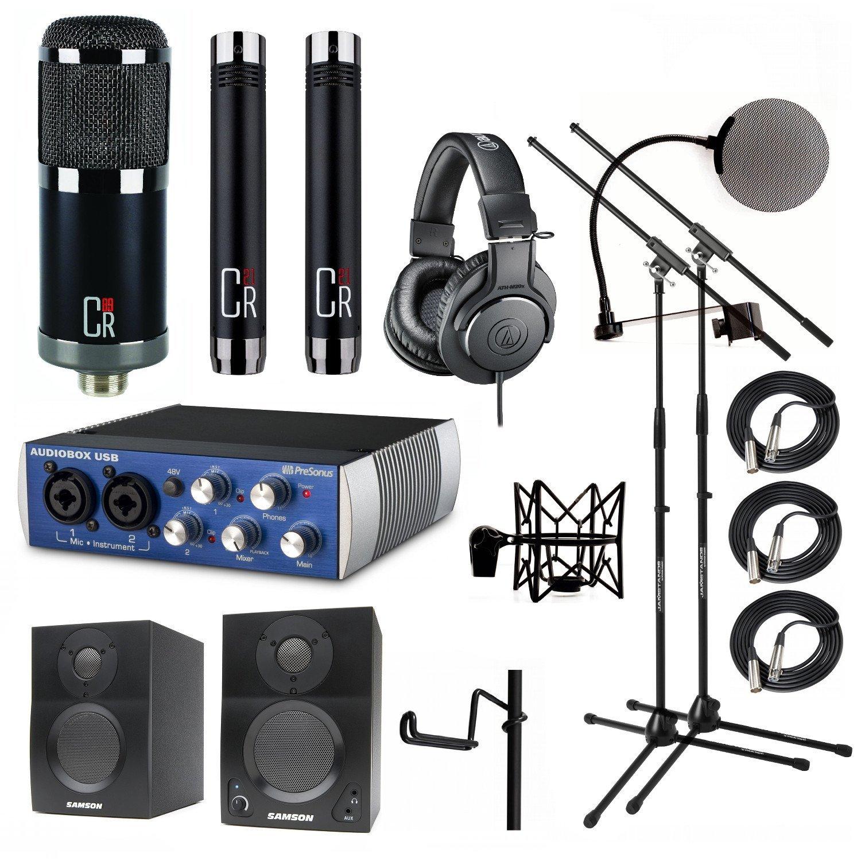 Home Studio MXL CR89 CR21 PF-002 Presonus AudioBox USB Samson Media ONE BT3 Speakers by MXL, Presonus, Samson