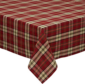 "DII Campfire Plaid Square Tablecloth, 100% Cotton with 1/2"" Hem for Holiday, Family Gatherings, & Christmas Dinner (60x84"" - Seats 6 to 8)"