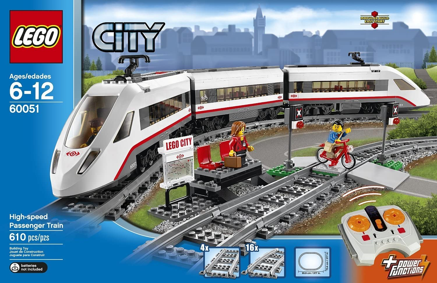 LEGO High-Speed Passenger Train Building Toy with 16 Curved Rail Tracks, Train Driver & More