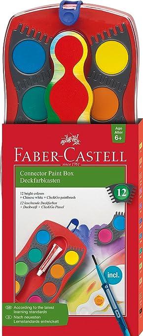 Faber-Castell 125023 - Estuche de 12 acuarelas Connector, pincel, multicolor