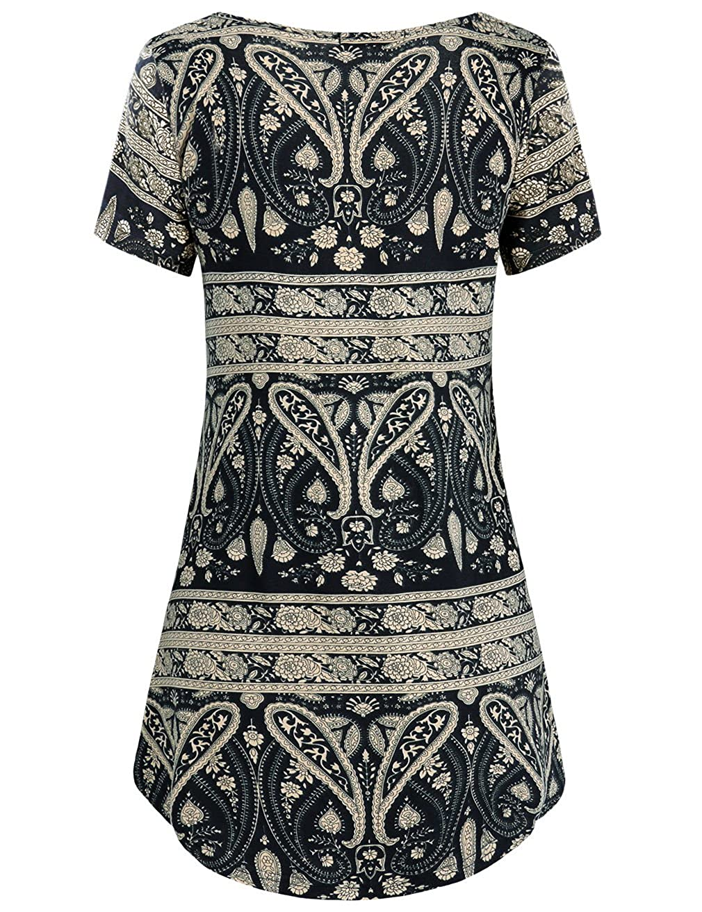 Moosungeek Womens Floral Print Tunic Shirts Pleated Flowy Blouse