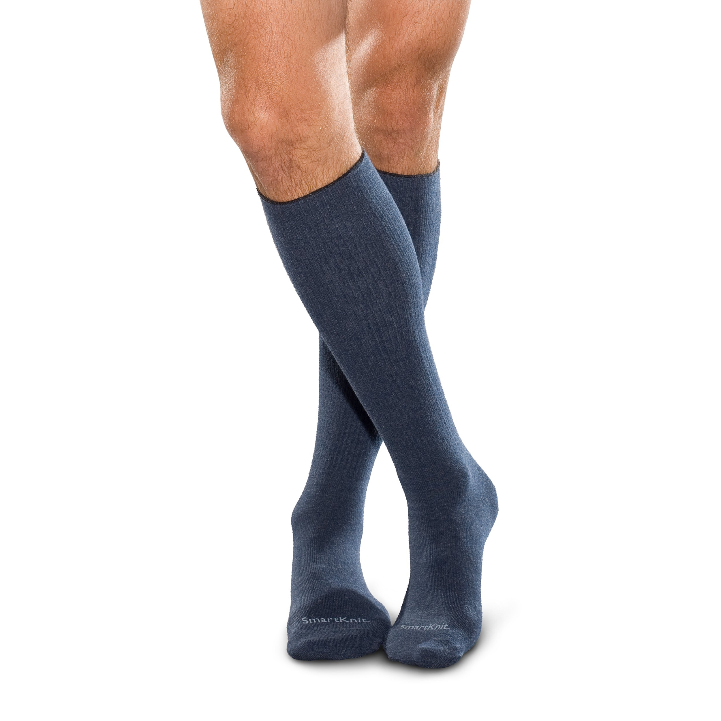 SmartKnit Seamless Over-the-Calf Socks for Diabetes, Arthritis or Sensitive Feet (Navy, Medium)