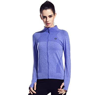 20c2777ed3 Speedle Women's Workout and Yoga Zip Up Stretchy Jacket with Thumb ...