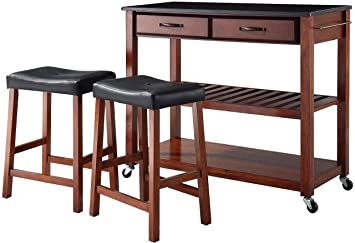 Crosley Furniture Portable Kitchen Cart with Solid Black Granite Top and  24-inch Upholstered Saddle Stools - Classic Cherry