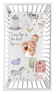 Sweet Jojo Designs Farm Animals Boy or Girl Fitted Crib Sheet Baby or Toddler Bed Nursery Photo Op - Watercolor Farmhouse Horse Cow Sheep Pig Farm Life