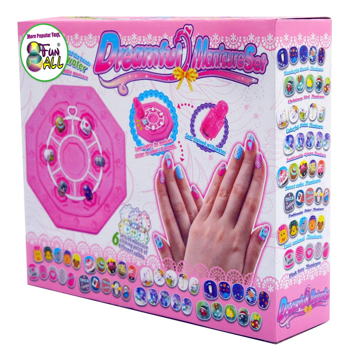Girls Nail Studio Art Manicure Gift Colorful Fake Nails \u0026 Themes Stickers  Set Kit for Kids Makeup \u0026 Art Party Supplier